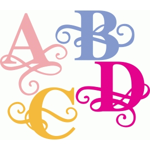 flourish alphabet abcd