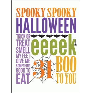 halloween sampler colorful 3x4 quote card