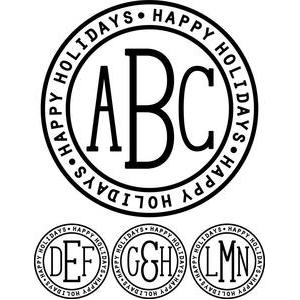 monogram type - happy holidays ring
