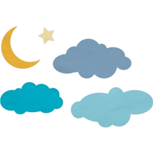 cloudy moon & star