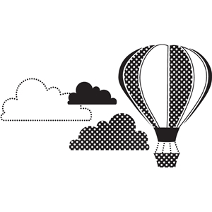 hot air balloon with clouds
