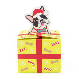boston terrier christmas present box