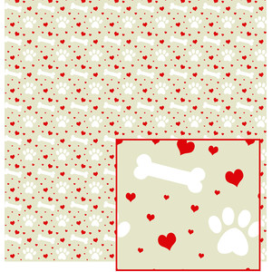 paws, hearts & bones pattern