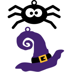 spider and witch hat halloween tags