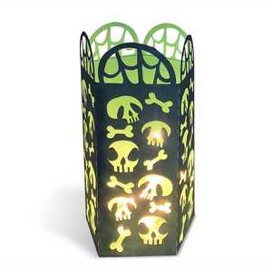 halloween lantern with skulls