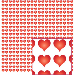 red hearts on white pattern