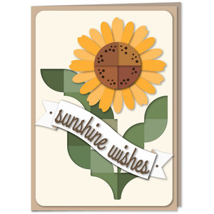 sunflower curved patchwork 5x7 card