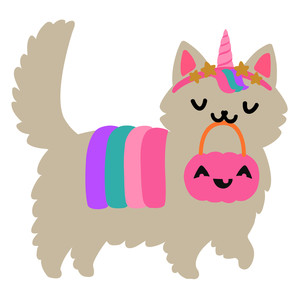 halloween kawaii unicorn kitty cat