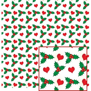 holly and hearts pattern