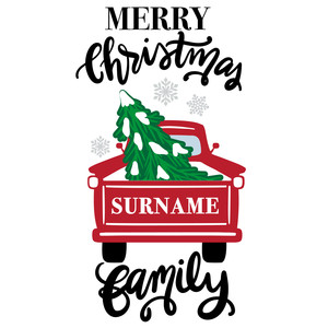 merry christmas red truck family sign