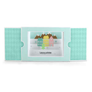 sliding shadow box card winter
