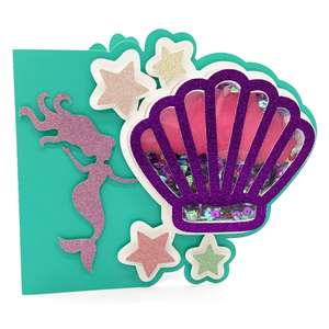 mermaid and shell shaker card