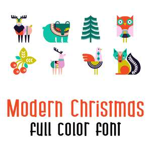 modern christmas full color font