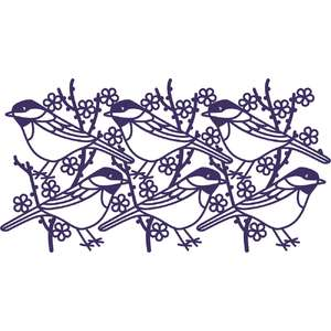 chickadee bird repeating border