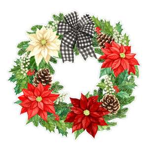 poinsettia flower and fir christmas wreath