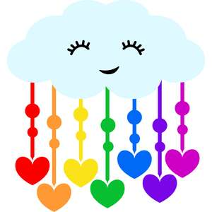 cloud with rain of hearts