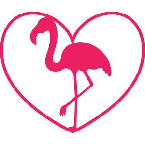 flamingo with heart