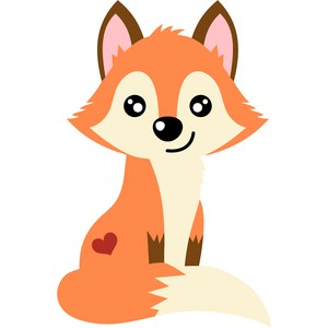 cute fox with heart