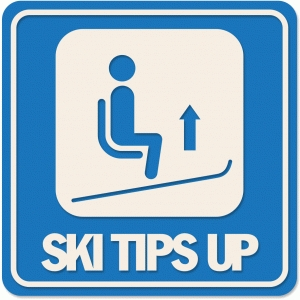 ski tips up sign