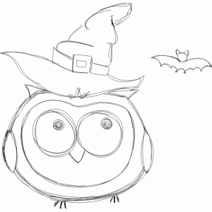 halloween owl with a hat