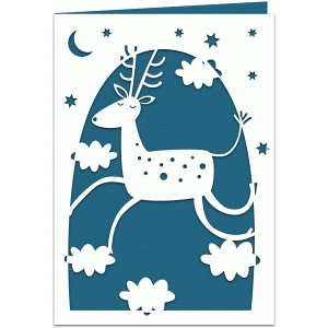 flying reindeer papercut 7x5 card