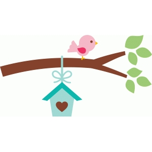 branch with birdhouse & bird
