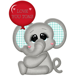 elephant with love you tons balloon