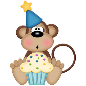 birthday monkey with cupcake