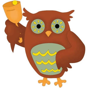 wise owl with school bell