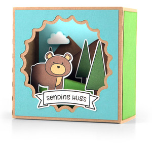 shadow box card scene - fall bear