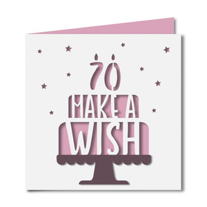 'make a wish' 70 birthday card
