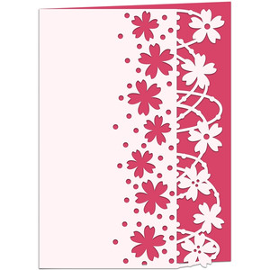 windswept blossom lace edged card