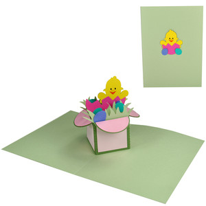 easter chick pop up box in a card