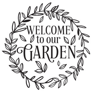 welcome to our garden leafy wreath