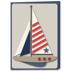 sailboat patriotic 5x7 card