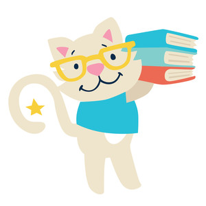 kitty with stack of books back to school