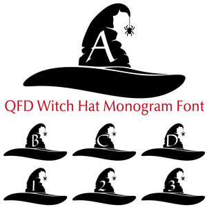 qfd witch's hat monogram font