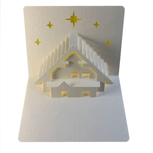 winter chalet popup card