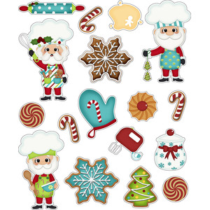santas kitchen christmas stickers