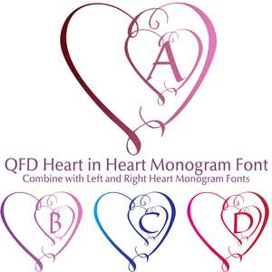 qfd heart in heart monogram font