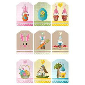 easter gnome gingham gift tags