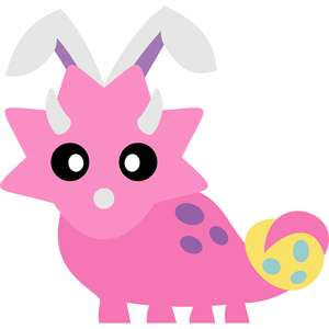 triceratops bunny ears and easter egg