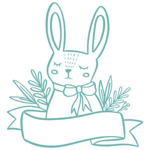 floral rabbit with ribbon