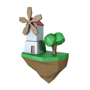 lowpoly cartoon island wind mill