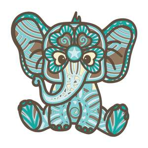 cute baby elephant multi layer mandala