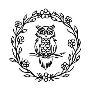 woodland owl with flower wreath