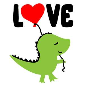 love dinosaur with balloon