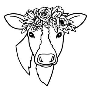 cow with a flower crown
