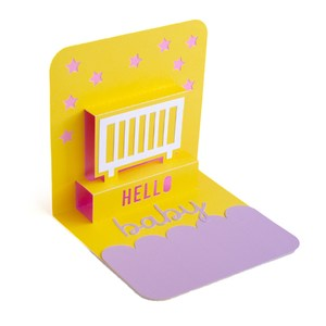 hello baby crib pop-up card