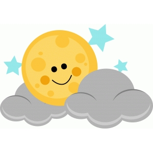 happy moon with stars and clouds